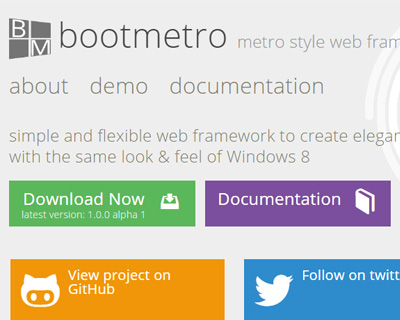 BootMetro : Create web apps with Windows 8 Metro user interface