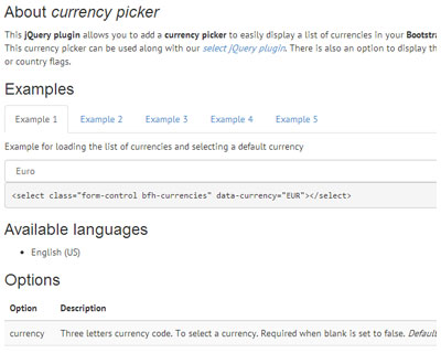 Bootstrap Form Helpers Currency Picker