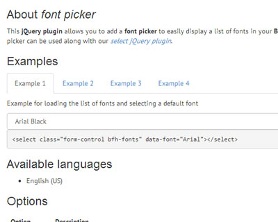 Bootstrap Form Helpers Font Picker
