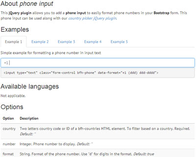 Bootstrap Form Helpers Phone Input