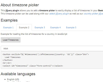 Bootstrap Form Helpers Timezone Picker - HTML Lion