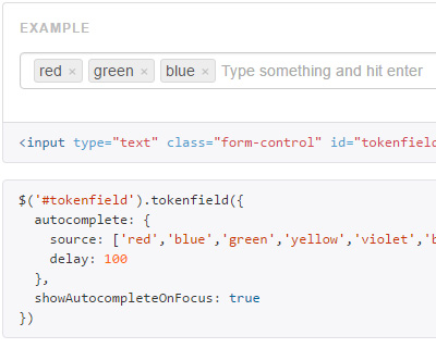 Bootstrap Tokenfield : jQuery Tag/Token input plugin