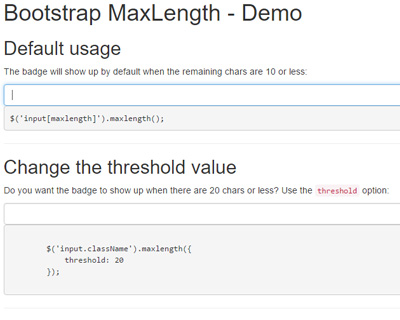jQuery Bootstrap MaxLength for Form Inputs