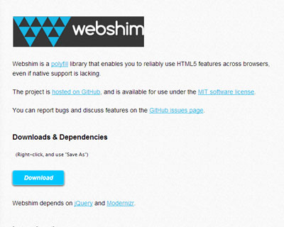 Webshim – polyfills jQuery with many HTML5 features